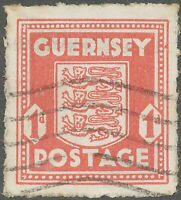 GB GUERNSEY 1941, 1 d. Arms of Guernsey FU pale scarlet CONSTANT VARIETY RED DOT