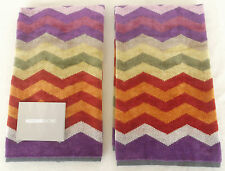 MISSONI HOME CHEVRONS COLLECTION TWO HAND TOWELS SET PETE 159 COTTON VELOUR