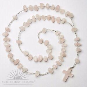Rose Quartz Crystal Rosary Beads With Rose Quartz Crystal Cross Casa Brazil