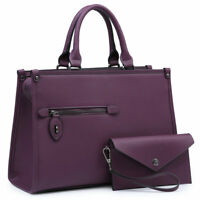 Dasein Women Satchel Faux Leather Handbag Set Shoulder Purse with Wallet