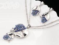 silver metal violet blue enamel crystal beads pendant necklace drop earrings S36