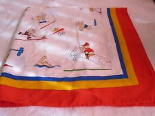 1992 Barcelona Olympics Scarf featuring Mascot Cobi Playing Sports Very Rare!