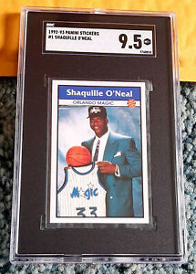 1992 PANINI STICKER #1 SHAQUILLE O'NEAL RC ROOKIE HOF SGC 9.5 ~ RARE ~ BGS Xover