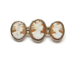Vintage silver 800 grade triple cameo brooch