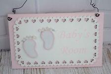 Placa puerta de la habitación de bebé rosa encaje signo de vivero chicas bebé ducha regalo F1720A