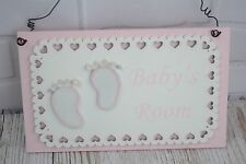PORTA TARGA BABY'S ROOM Rosa Ragazze Vivaio sign in pizzo baby shower regalo F1720A