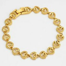 "Heart Bracelet Charm Chain Vogue Jewelry 18K Yellow Gold Filled 7.7"" Women Link"