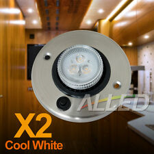 2X 12V LED Eyeball Cabinet Lights Round Aluminum with Switch Cool White RV Boats