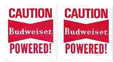 2 x Budweiser Powered Racing Decal Sticker 3 Inch Long Size Vintage Race Decals