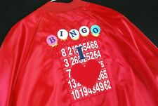 Vintage 90s BINGO Embroidered Jacket Unisex XL Red Satin Shiny Grandma Hipster