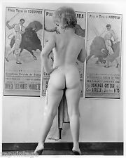 Vintage RARE Black & White 1960's Nude Curvy Girl Bullfighting  PHOTO 8X10 #140