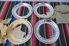 "NOS 15"" Chrome Beauty Trim Rings Hubcaps 1940's 1950's Chevy Ford Mopar Acessory"