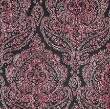 Black Pink Damask Designer Wallpaper Kenneth James Metallic Silver Luxury