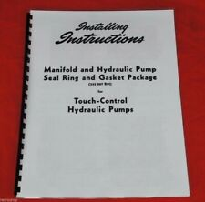 Touch Control Hydraulic Pump Rebuild Manual Ih Farmall Super A C 140 Shop Copy