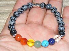 Snowflake Obsidian Chakra Natural Gemstone Bracelet 8mm A Grade Beads (HM26)