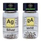 Argento metallico elemento 47 Ag, lucenti pellets 99,99% 5g in vial + etichetta
