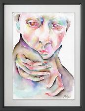 SURREAL PORTRAIT Original Watercolor Painting Artwork by Marina Sotiriou