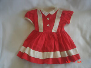 """CHARMING Vtg. RED & WHITE DOLL DRESS 20"""" - 22"""" Chubbier DOLL Factory Made"""