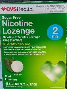 CVS Sugar Free Nicotine Mint Lozenges 2mg. 48 Mint Pieces Exp 8/22