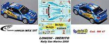 DECAL  1/43 - Subaru Imreza  WRX  - LONGHI - Rally San Marino  2008