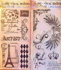 NEW! Stampers Anonymous Tim Holtz- Lot 2 Stamp Sets Regal Flourish French Market