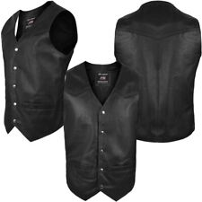 ARD CHAMPS® Men's Motorcycle Vest Genuine Cowhide Leather Black Style 950