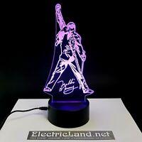 Freddie Mercury Queen lampada luce notturna Led 3D Acrylic Night Light Lamp rock