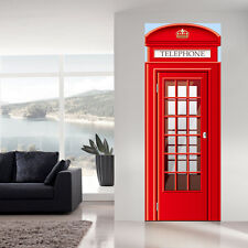 UK 88cm Width London Telephone Booth Door Stickers Mural Travel Home Decoration