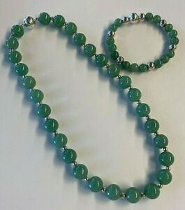 Beautiful Milor Italy Sterling Silver Jade Necklace and Bracelet Set