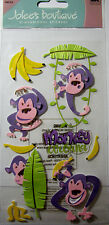 NEW 9 pc MONKEY AROUND Cartoon Monkeys Bananas Monkey Around JOLEE'S 3D Stickers