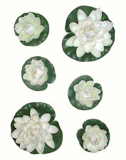 6 x Water Lilies, Artificial Flowers, Imitation Lotus Plants, Replica Pond Lily