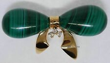 Bow Tie Pin 14k Yellow Gold Diamond & Malachite