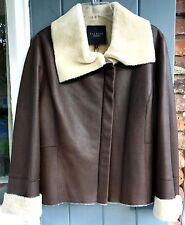 TALBOTS Dark Brown Lambskin Leather Sherpa Lined Bomber Jacket Coat 16 NWT $1200