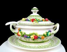 """CAPODIMONTE ITALIAN PORCELAIN #1326 APPLIED FRUIT 9"""" TUREEN LADLE AND UNDERPLATE"""