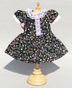 """Fit 11"""" 12"""" Antique French Doll Bleuette Jumeau Black Floral Dress"""