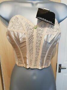Lady Marlene VTG Bullet Longline Strapless Lace Satin Bra Corset Summer Top NEW