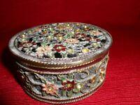 Antique Round Metal Design Crystal Rhinestone Floral Jewelry / Trinket Box