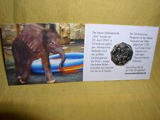 Österreich 5 Euro Silber unc 2002  Tiergarten Elefant Miniblister