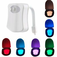 8-Color LED Home Toliet Bathroom Human Body Auto Motion Sensor Seat Light Night