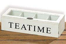 Boite de Thé Boîte en bois pour Sachet de thé bois blanc pot à thé - Tea Time