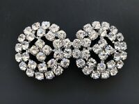 Vintage Sparkling Rhinestone Diamante Belt Shoe Buckle Brooch Style 3.5cm Sewing