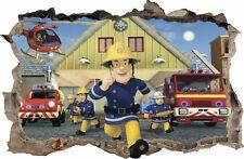 WANDAUFKLEBER Loch in der Wand 3D Feuerwehrmann FIRAMAN SAM Wandtattoo 47