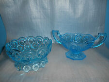 2 BLUE GLASS PEDESTAL CANDY DISHES - 1 WITH HANDLES