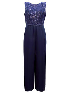 LADIES WOMEN GORGEOUS OCCASION SEQUIN EMBELLISHED PLAYSUIT JUMPSUIT SIZE 20 NEW