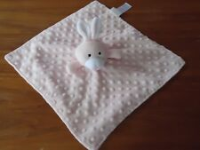 Elegant Baby Bunny Security Blanket Pink Satin Minky Dot Bumpy Lovey-Preowned