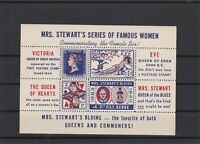 Mrs Stewarts Series of Famous Women Mint Never Hinged Stamps Block ref 22576