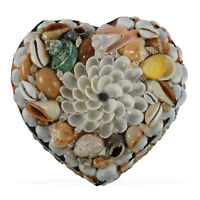 Sea Shell Encrusted Treasure Chest Shaped Heart Jewelry Organizer Box Storage