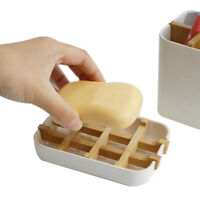 Bamboo Soap Dish Wooden Holder Bathroom Soap Box Case Container Tray Rack Pl_hg