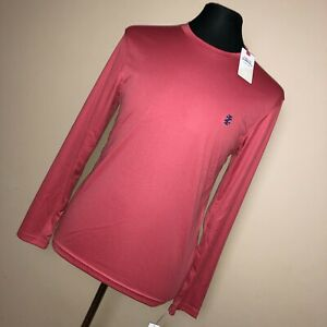 New Izod S Small Mens Performance Shirt Crew Neck Long Sleeve Coral Pink B3