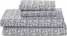 "Rivet Boomerang Sateen 105""L x 108""W 100% Cotton Bed Sheet Set California King"